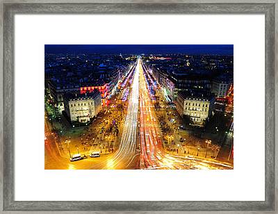 Holiday Lights On The Champs-elysees Framed Print