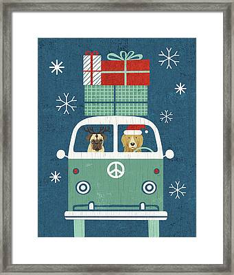 Holiday On Wheels Xii Navy Framed Print by Michael Mullan