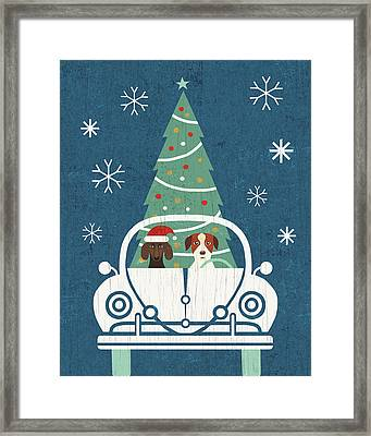 Holiday On Wheels Xiii Navy Framed Print by Michael Mullan