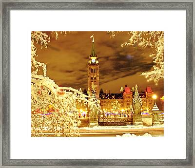 Holiday Ottawa - Parliament And Peace Tower Night Lights Framed Print