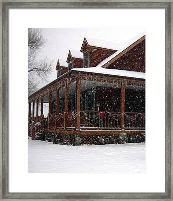Holiday Porch Framed Print by Claudia Goodell