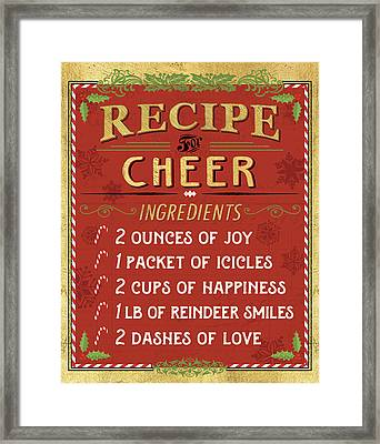 Holiday Recipe I Gold And Red Framed Print