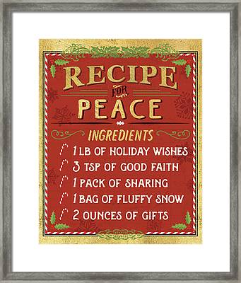 Holiday Recipe II Gold And Red Framed Print