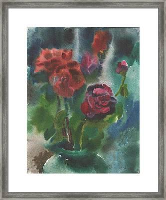 Holiday Roses Framed Print by Anna Lobovikov-Katz