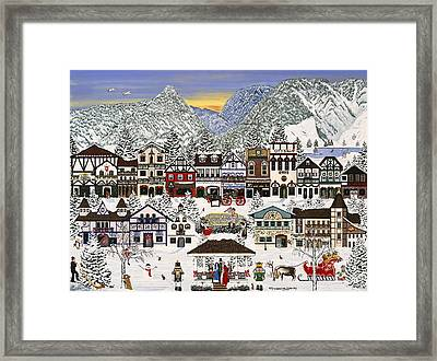 Framed Print featuring the painting Holiday Village by Jennifer Lake