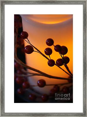 Framed Print featuring the photograph Holiday Warmth By Candlelight 1 by Linda Shafer