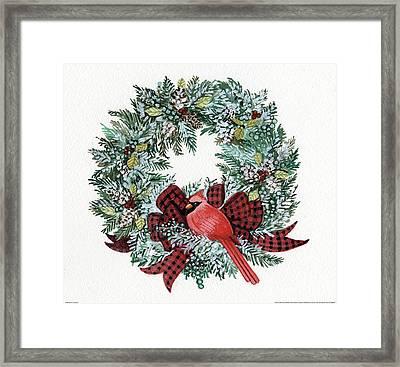 Holiday Wreath I Framed Print by Kathleen Parr Mckenna