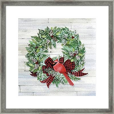 Holiday Wreath I On Wood Framed Print by Kathleen Parr Mckenna