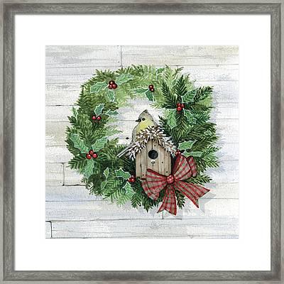 Holiday Wreath IIi On Wood Framed Print