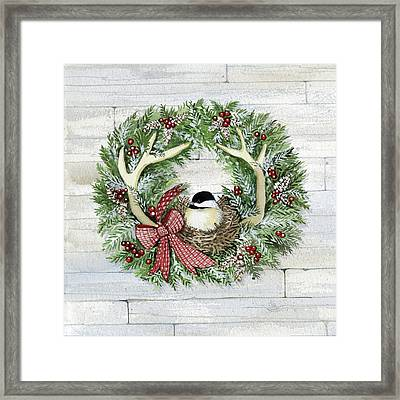 Holiday Wreath Iv On Wood Framed Print by Kathleen Parr Mckenna