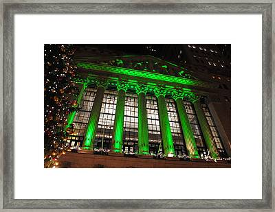 Framed Print featuring the photograph Holidays At Ny Stock Exchange by Robert  Moss