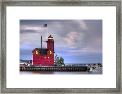 Holland Big Red Lighthouse Framed Print by Twenty Two North Photography