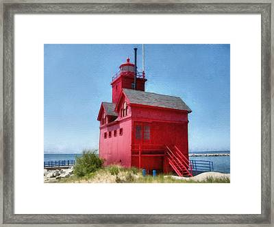 Holland Harbor And Big Red Framed Print by Michelle Calkins