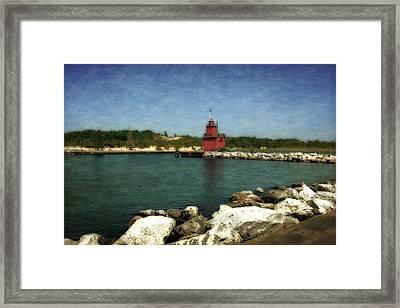Holland Harbor Light And Breakwater Framed Print