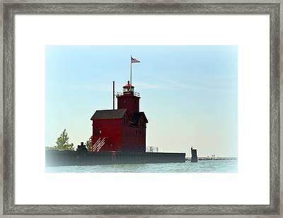 Holland Harbor Light Vignette Framed Print by Michelle Calkins