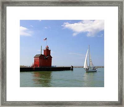 Holland Harbor Lighthouse With Sailboat Framed Print