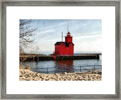 Holland Michigan Channel And Lighthouse Framed Print by Michelle Calkins