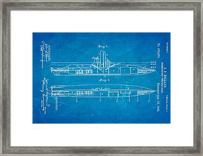 Holland Submarine Patent Art 1892 Blueprint Framed Print by Ian Monk