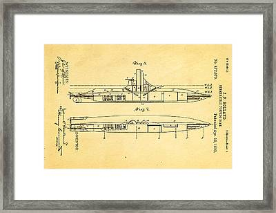 Holland Submarine Patent Art 1892 Framed Print by Ian Monk