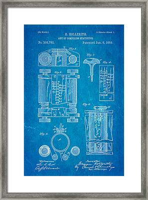 Hollerith Punch Card Patent Art 1889 Blueprint Framed Print
