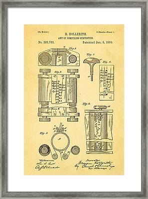 Hollerith Punch Card Patent Art 1889 Framed Print by Ian Monk