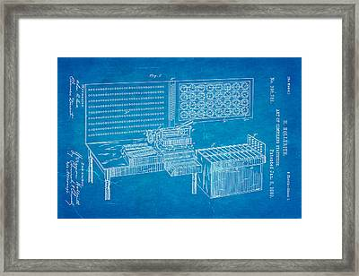 Hollerith Punched Card Patent Art 1889 Blueprint Framed Print by Ian Monk