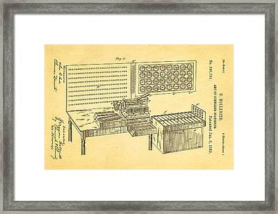 Hollerith Punched Card Patent Art 1889 Framed Print by Ian Monk