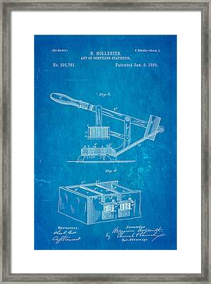 Hollerith Punched Card Patent Art 2 1889 Blueprint Framed Print by Ian Monk