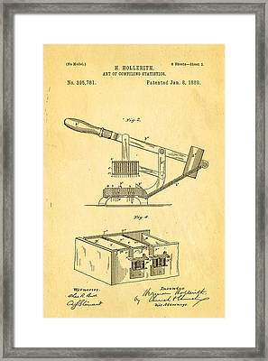Hollerith Punched Card Patent Art 2 1889 Framed Print by Ian Monk