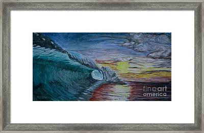 Hollow Wave At Sunset Framed Print