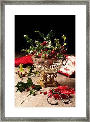 Holly And  Berries Framed Print by Amanda Elwell