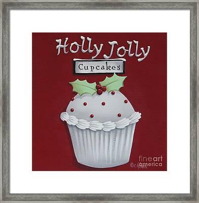 Holly Jolly Cupcakes Framed Print by Catherine Holman