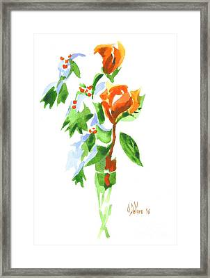 Framed Print featuring the painting Holly With Red Roses In A Vase by Kip DeVore