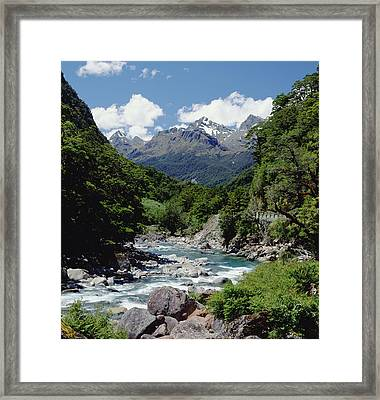 Hollyford River And The Eyre Range Framed Print