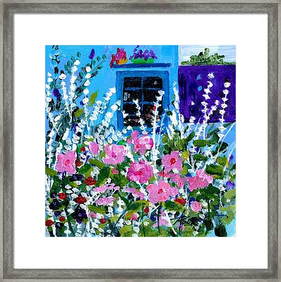 Hollyhock Alley  Framed Print