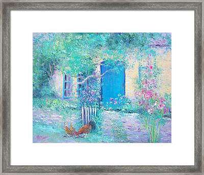 Hollyhocks Garden Framed Print