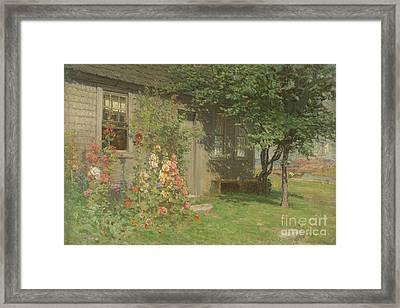 Hollyhocks Nantucket Framed Print by John Joseph Enneking