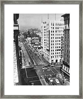 Hollywood And Vine In La Framed Print by Underwood Archives