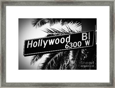 Hollywood Boulevard Street Sign In Black And White Framed Print
