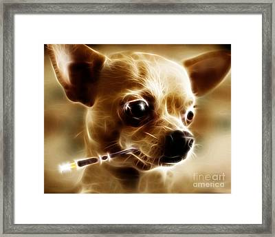 Hollywood Fifi Chika Chihuahua - Electric Art Framed Print by Wingsdomain Art and Photography