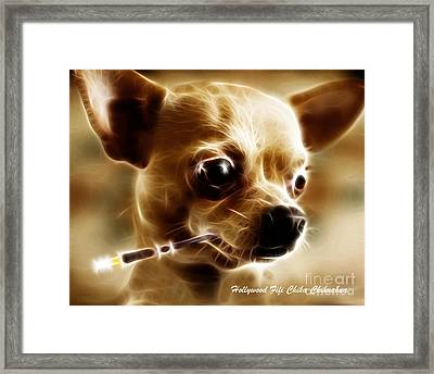 Hollywood Fifi Chika Chihuahua - Electric Art - With Text Framed Print