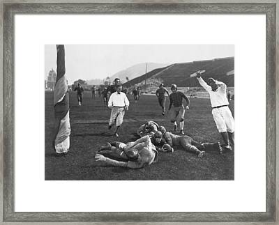 Hollywood Football Touchdown Framed Print by Underwood Archives