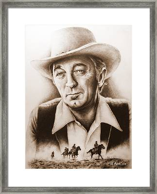Hollywood Greats Mitchum Framed Print by Andrew Read