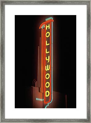 Hollywood Neon Sign At The Hollywood Framed Print