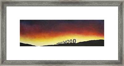 Hollywood On Fire Framed Print by Christine  Webb
