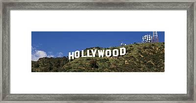 Hollywood Sign At Hollywood Hills, Los Framed Print