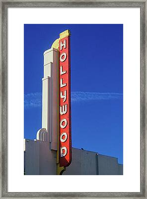 Hollywood Sign At The Hollywood Theater Framed Print