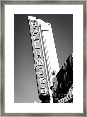 Hollywood Sign In Black And White Framed Print