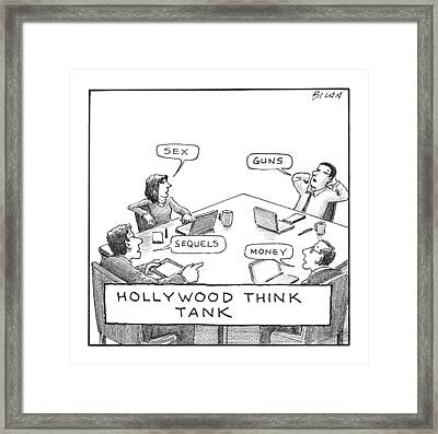 Hollywood Think Tank Framed Print by Harry Bliss
