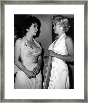 Gina Lollobrigida And Marilyn Monroe Framed Print